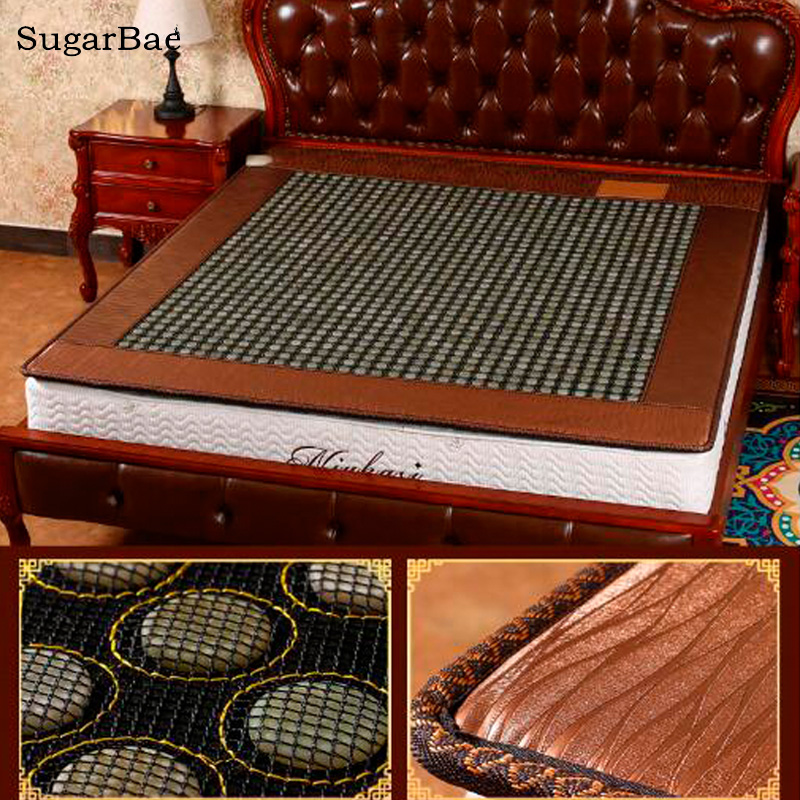 New Heated Jade Mattress Health Sleeping Mattress Tourmaline Bed Mat For Sale Size 1.0X1.9M/1.2X1.9M Available 2017 new heating massage mat heated jade stones cushion tourmaline health products heating sleeping mat size 100 50cm