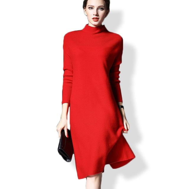 2018 Woman Long Pullovers Sweater Dress Plus Size Knittied Loose