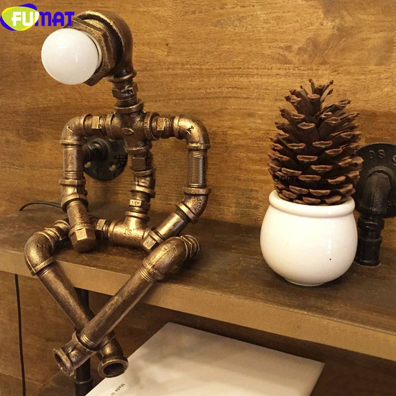 FUMAT Creative Iron Water Pipe Table Lamps LED Industrial Loft Vintage Desk Lamps Cafe Bar Robot Table Lamps for Bedroom loft led light iron pipe lamp bronze water pipe desk lamps table lamps decorate study room bedroom cafe bar fj dt1s 012a0