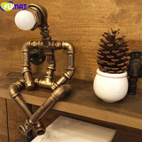 FUMAT Creative Iron Water Pipe Table Lamps LED Industrial Loft Vintage Desk Lamps Cafe Bar Robot Table Lamps for Bedroom