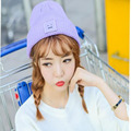 New standard 2016 square smiley knitted hat ladies fashion candy color in autumn and winter hedging wool cap wholesale beanie