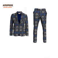 2019NEW AFRIPRIDE private custom african clothes for men slim fitted formal suit jacket+pant wedding work place business A731602