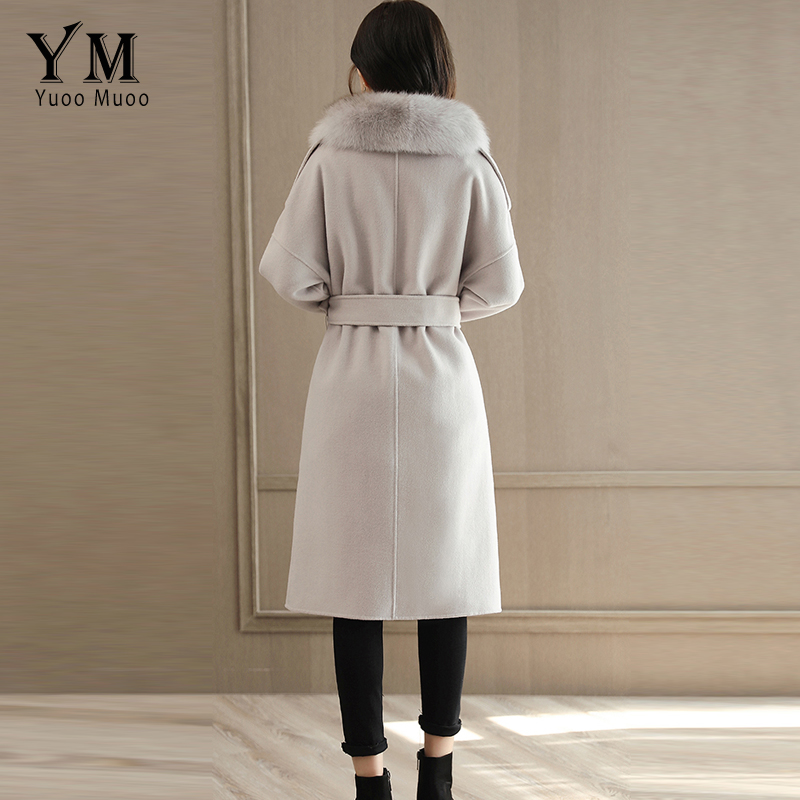 D'hiver Femmes Laine Long Artificielle Col Qualité Veste Amovible Haute Fourrure Manteau Élégant Survêtement Cachemire De Beige Yuoomuoo q6Ax7w1