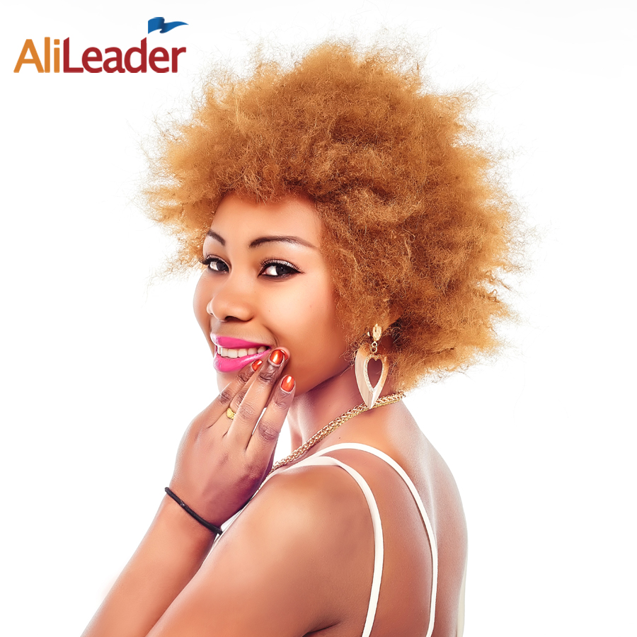 AliLeader Products Puff Brown Black Natural Short Afro Kinky Straight Wigs For Black Women, 6 Inch Synthetic Hair Wig Pruiken