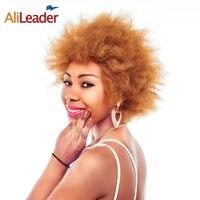 Productos AliLeader Rubio Marrón Negro Corto Pelucas Afro Para Las Mujeres Negras, 6 Pulgadas Recto Rizado Pelo Sintético Peluca Natural Pruiken