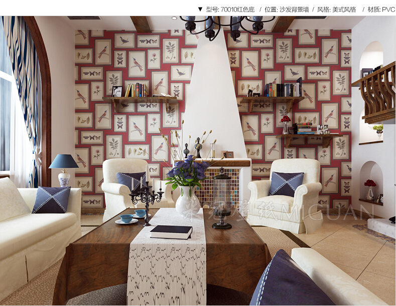 American Country Wallpaper Bedroom Living Room Tv Background Decorative Painting Frames The