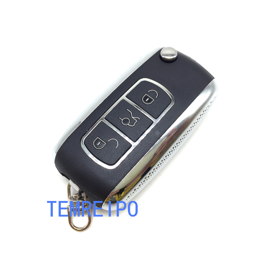 10pcs/lot New Product Folding Flip Key Blank For Vol Kswagen Phaeton 3 Buttons Remote Key Cover With Key Chain Fobs