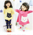 2016 Brand Spring Autumn Girls Print Cartoon Clothes Sets Cotton Long Sleeve+Leggings Girls School Clothing Set Hot Sale