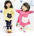 2016 Marca Primavera Otoño Chicas de Dibujos Animados de Impresión Ropa de Conjuntos de Algodón de Manga Larga + Leggings Ropa de Niñas de La Escuela Set Venta Caliente
