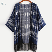 New Summer style women's blouse printing tassel chiffon blouse sunscreen clocthes