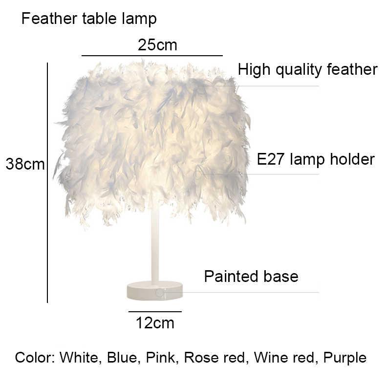 Перо Настольная лампа светодио дный прикроватная лампа настольная лампа для Спальня Гостиная дома Декор для дома E27 Tafellamp Лампе де чевет де Chambre