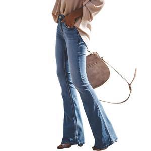 Image 3 - LIBERJOG セクシーな女性ベルボトムパンツジーンズコットン秋冬カジュアル穴ワイド脚フレアデニムパンツ女性のジーンズ