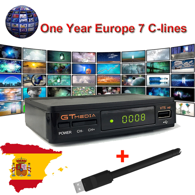 1 Year Europe Cline Server Genunie Freesat GTmedia V7S HD Receptor Satellite Decoder+USB WiFi 1080P Youtube Powervu Receiver
