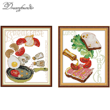 Breakfast Lunch Series cross stitch kit aida 14ct 11ct count