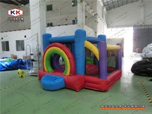 rainbow bouncer/ rainbow inflatable bouncer with slide for kids/ family party