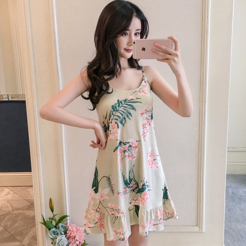 Girl Tops Summer New Women Sling Nightgown Printing Sexy Sleepwear Shortless Sleeve Pyjamas With Chest Pad Girl Short Nightdress