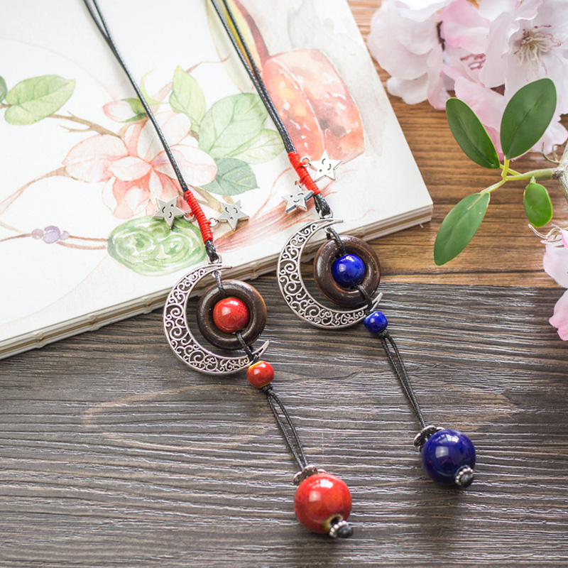 12 Pieces/Lot Bohemian Necklaces Ceramic Beads Pendants Necklace Smile Stars Moon Design Charm Choker For Women Sweater Chain
