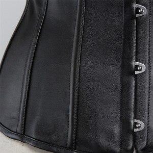 Image 5 - Sapubonva pu underbust corset leather black synthetic gothic punk waist cincher sexy cupless corset bustier top ladies party