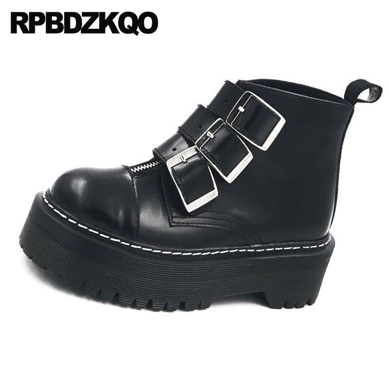 Handgemachte Leder Kappe Schuhe Schwarz Flache Rock Große Booties 10 Plattform Echtem Größe Runde Creepers Schwarzes Frauen Punk Herbst Stiefel t0qc0agw