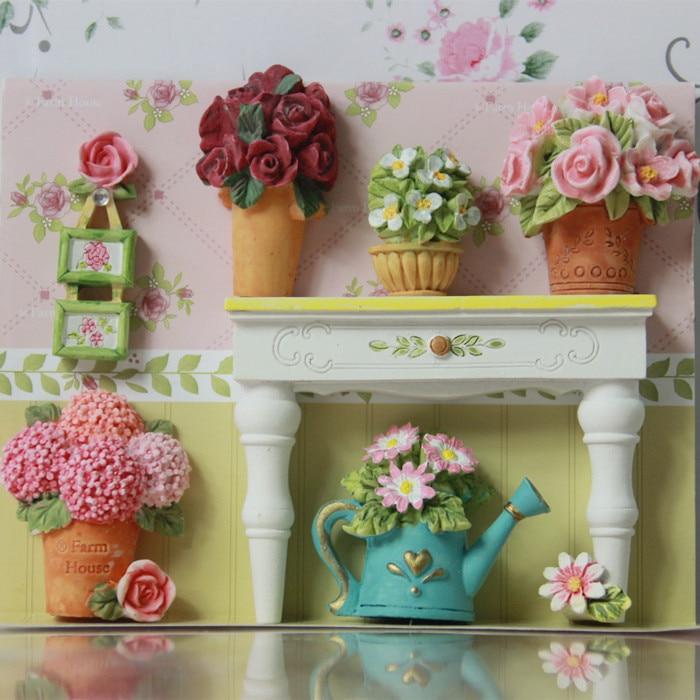 South Korea Refrigerator Magnet Retro Florist Creative DIY 3D Magnet Pin  Flower Magnet Fridge Andle Cover