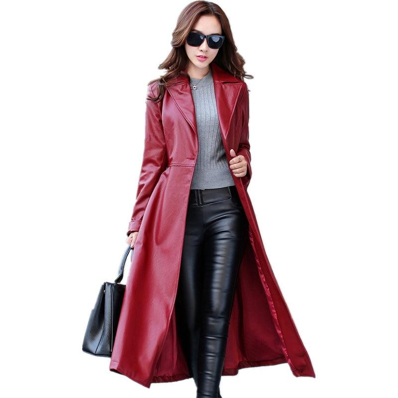 Tempérament Longue Section De La En Cuir Femelle Automne et D hiver  vêtements Nouvelle-Coréen De Mode Mince Plus La Taille PU Cuir Manteau veste e761de424d2