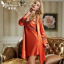 Xifenni Robe Sets Female High Quality Faux Silk Sleepwear Women Fashion Trend Two Piece Lace Long Sleeve Bathrobes 1521