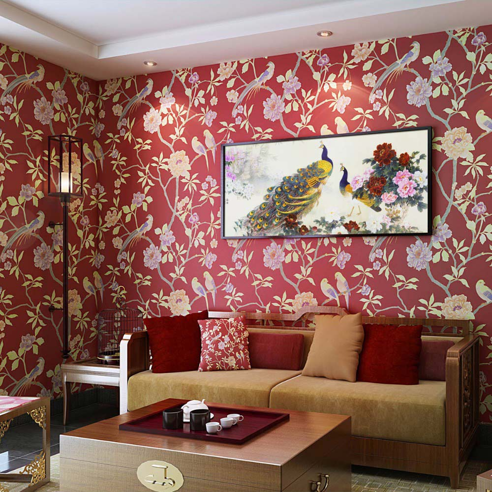 Dinding Kamar Birds Trees Branch Embossed Textured Non Woven Wallpaper