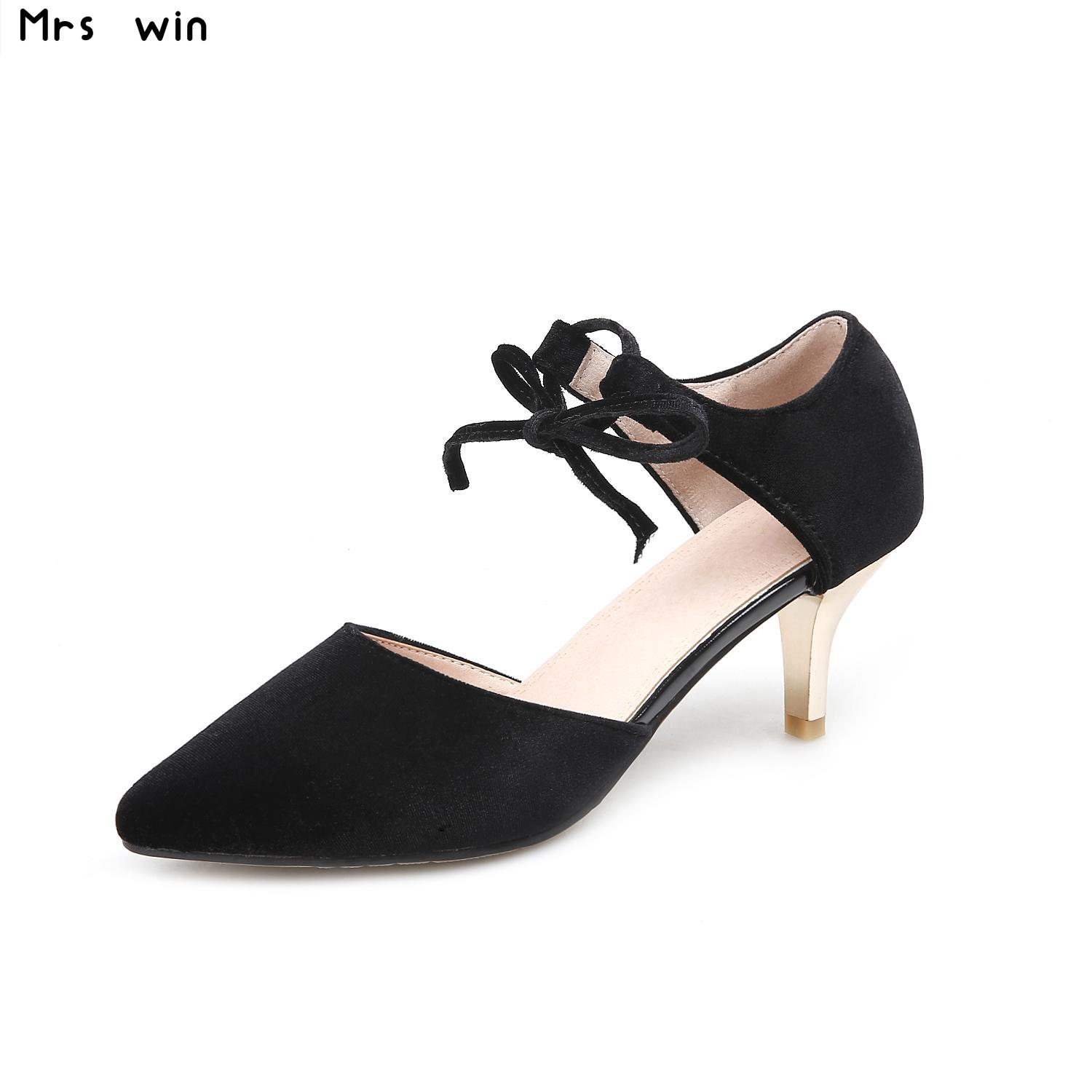 Women high Heel Vintage Shoes Woman Classics Pointed Toe thin Heels Pumps Ladies Fashion Strap Heeled Shoes large Size 34-43 plus big size 34 52 shoes woman 2017 new arrival wedding ladies high heel fashion sweet dress pointed toe women pumps e 177