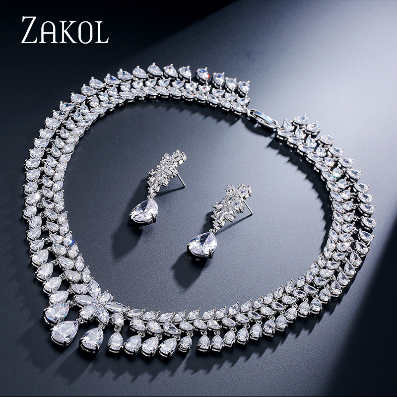 ZAKOL Women Elegant and Luxury Water Drop Shape CZ Zirconia Earrings Necklace Wedding Jewelry Set FSSP110