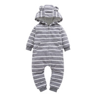 2017 Kids Winter Autumn Clothes One Piece Long Sleeve Stripe Hooded Jumpsuit Infantil Newborn Baby Boy