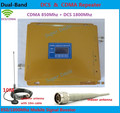 Newest DCS CDMA LCD Signal booster ! DCS 1800 CDMA 850 Mobile Phone Booster Amplifier , Cell Phone GSM Repeater + antenna 1 set