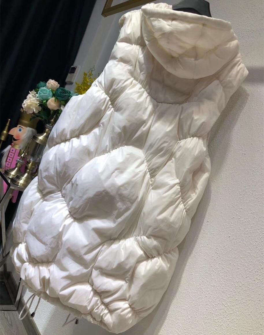 Femmes Noir Canard Bas Duvet Manteau Mince À Outwear Manches Dame Longues Hiver Capuchon blanc Vers Veste De Gilet Automne Le Blanc 5q7HYZ