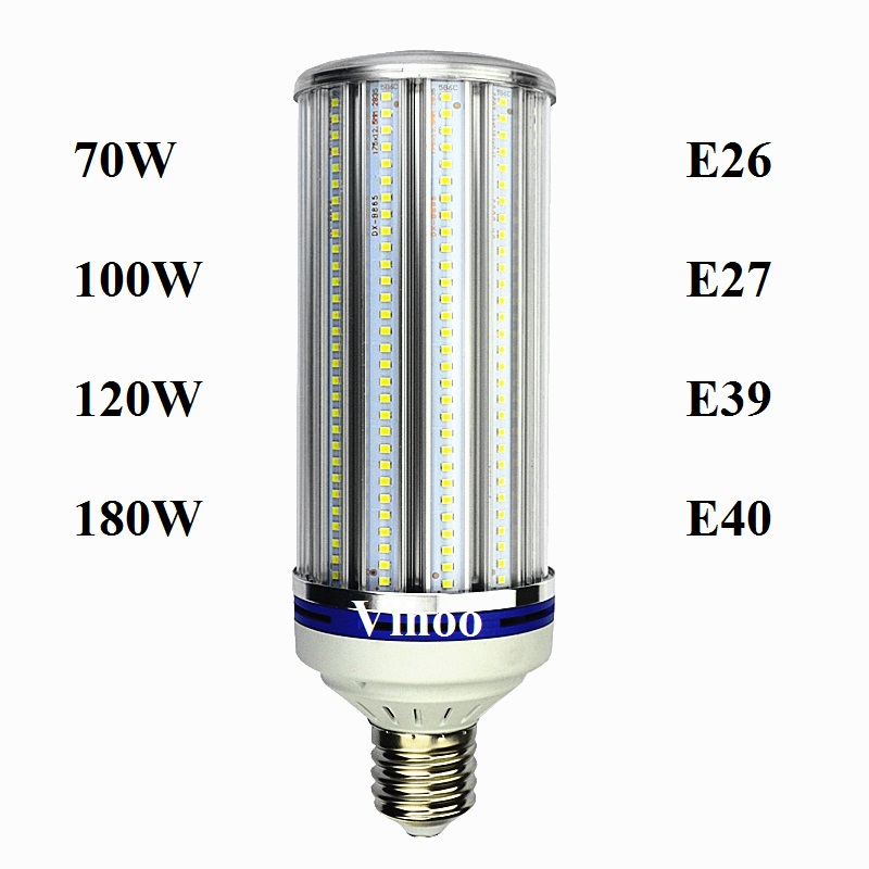 Lampada E27 E40 70W 100W 120W 180W LED Bulb E26 E39 Street Light Lighting AC85-265V Aluminum Corn Lamp Warehouse Spotlight 2pcs