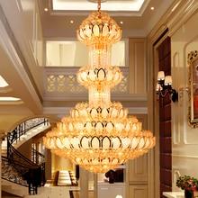 Crystal Chandelier Lighting Fixture LED Gold Chandeliers Lotus Flower Big Long Droplight Hotel Lobby Hall Villa Indoor Lamps