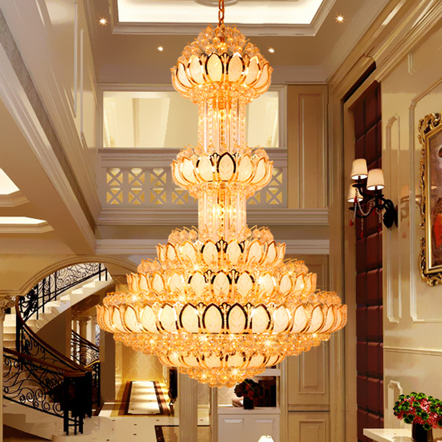 Hotel lobby lighting Interior Wall Design Crystal Chandelier Lighting Fixture Led Gold Chandeliers Lotus Flower Big Long Droplight Hotel Lobby Hall Villa Indoor Lamps Boca Do Lobo Crystal Chandelier Lighting Fixture Led Gold Chandeliers Lotus