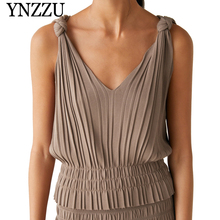 YNZZU 2019 Summer V-neck solid color women knitted tops Off shoulder sleeveless loose Camisole Chic Pleated lady tank tops YT602 все цены