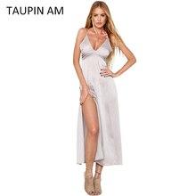 Elegant summer maxi dress long satin dress vintage off shoulder black party beach slip robe longue femme Vestidos