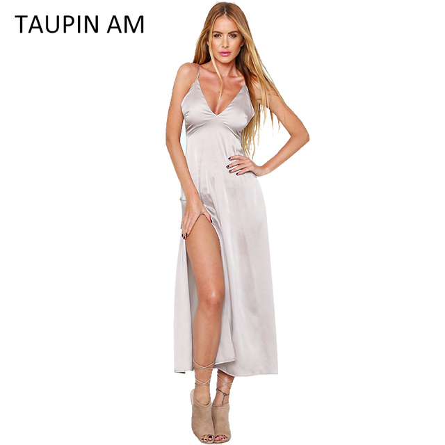 f5b07419c Elegant summer maxi dress long satin dress vintage off shoulder black party  beach slip robe longue