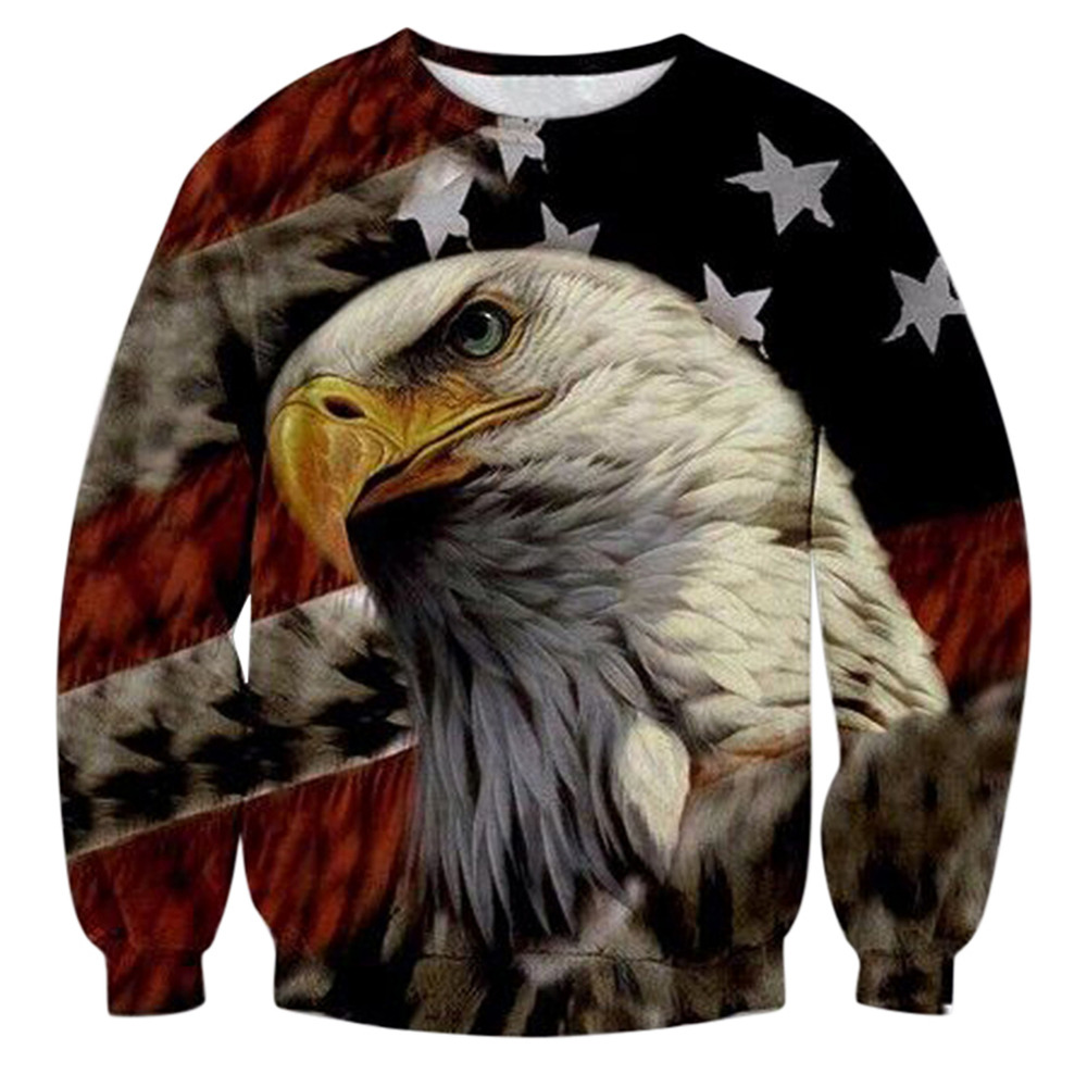 Fashion American Flag Hooded Sweats Tops Men O-Neck 3D Eagle Print Sweatshirt Unisex Streetwaer Graphic Pullover Sudadera Hombre