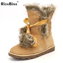 Rizabina зима зимние сапоги женская обувь из меха мотоциклетные Ботильоны Теплая обувь женщина круглый носок на мягкой плоской подошве Размеры 33-43