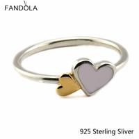 100% 925 Sterling Silver Luminous Hearts Feature Ring Cubic Zirconia Fits For DIY Jewelry Women Valentine's Day Gift