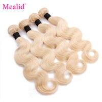 Mealid Body Wave Bundles 613 Hair Brazilian Hair Weave Bundles Remy 100% Human Hair Bundles Blonde Weave Hair Extensions