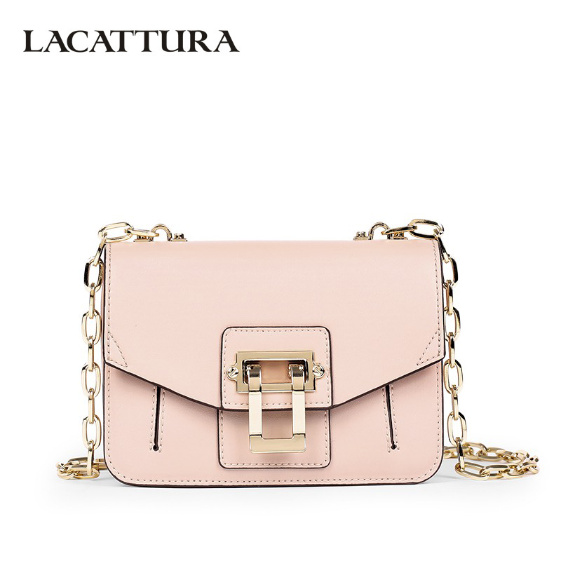 LACATTURA Luxury Handbag Women Designer Leather Chain Shoulder Bag Fashion Small Messenger Bags Clutch Crossbody for Lady Summer