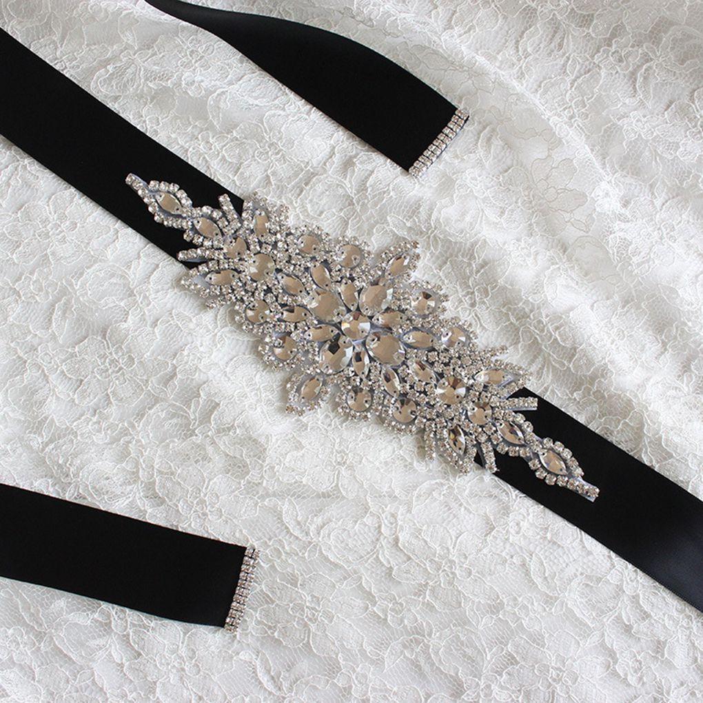 Women's Belt Wedding Ribbons Bridal Belt Dress Prom Crystal Sashes Evening Party Handmade Rhinestones Waistband