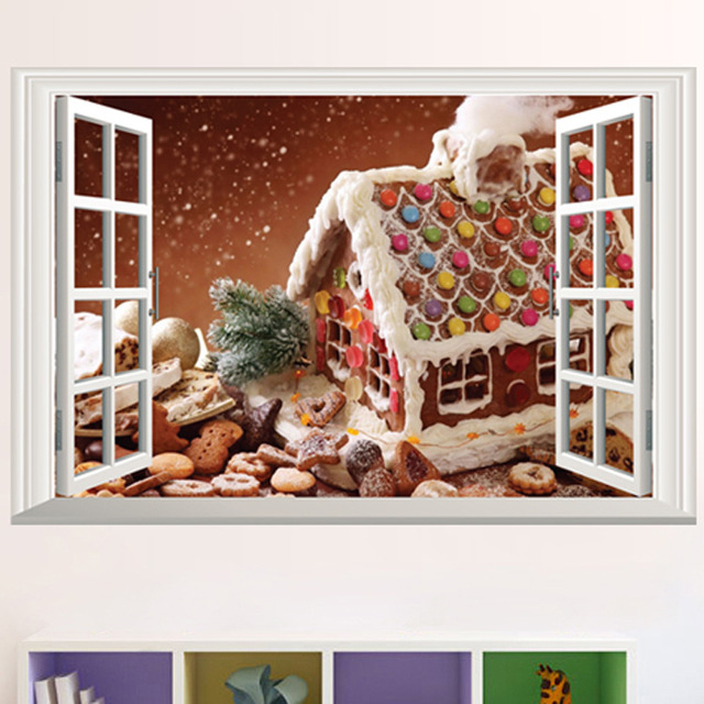 fake window landscape wallpapers christmas decoration white snow house wall stickers living room tv sofa decor - Christmas Tv Decoration