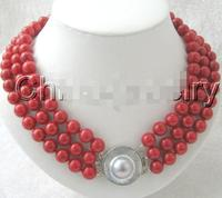 Women Gift word Love Hot sale Shipping>>>>AAA 3row 10mm natural perfect round red coral necklace 925 silver b silver jewelry