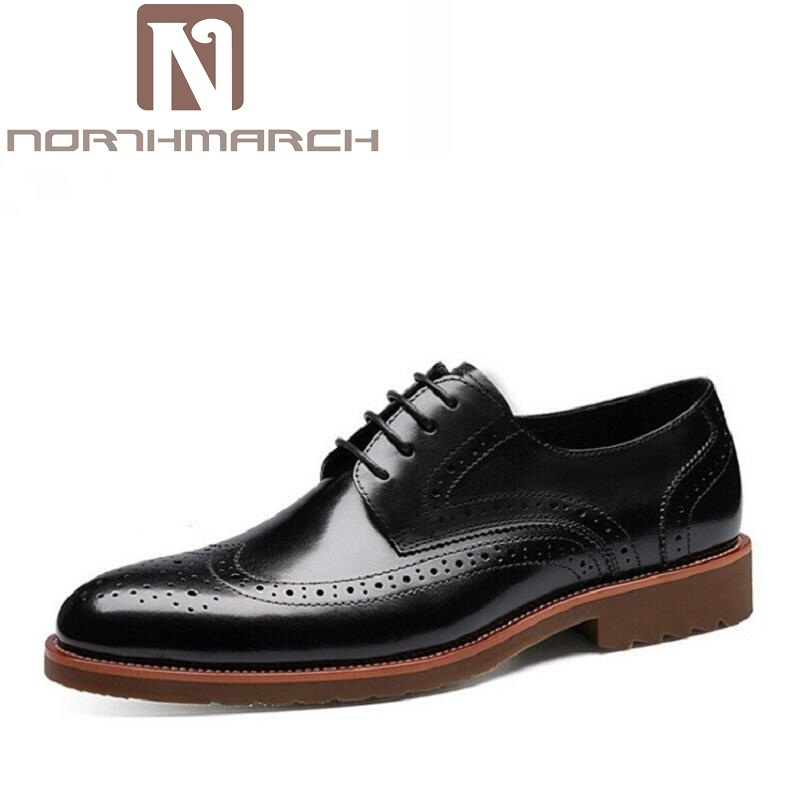 все цены на NORTHMARCH New Luxury Leather Brogue Mens Flats Shoes Casual British Fashion Men Oxfords Brand Retro Dress Shoes For Men