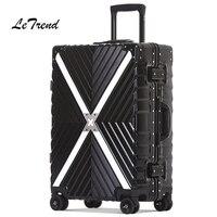 Letrend Alüminyum Çerçeve Spinner Haddeleme Bagaj 24 inç Erkekler Retro Seyahat Çantası Arabası Kabin Valizleri Tekerlekli Kadın Çanta Bagaj