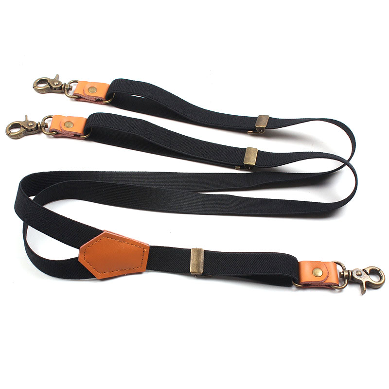European And American Fashion Black Three-clip Hook Suspenders With Leather Vintage Straps FY18110106