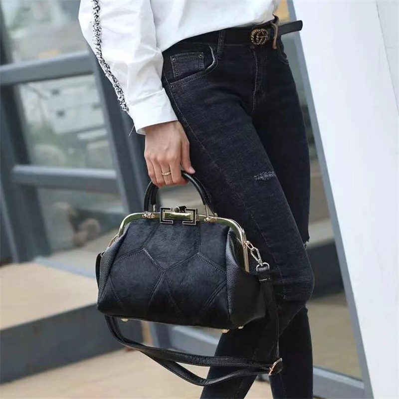 Fashion Brand Leather Fur Soft Real Leather Women Handbag Two Pieces Female Shoulder Bag Girls Messenger Bag Casual Women Bag